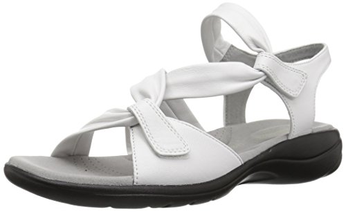 Clarks Women's Saylie Moon Sandal, White Leather, 8 Wide US