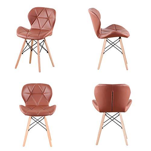 KUN_SK - Juego de 4 sillas de comedor modernas de poliuretano con estructura de metal y patas de madera