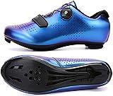 KUXUAN Zapatillas de Ciclismo para Hombre - Zapatillas de Spinning con Zapatilla Peloton de Cala Compatible con SPD y Delta para Hombre Zapatillas de Bicicleta con Pedal de Bloqueo,Blue-39EU=(245mm)