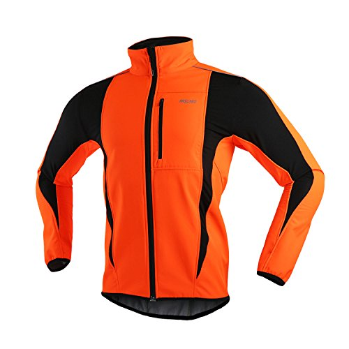 ARSUXEO Winter Warm UP Thermal Softshell Cycling Jacket Windproof Waterproof Bicycle MTB Mountain Bike Clothes 15-K Orange Size Large