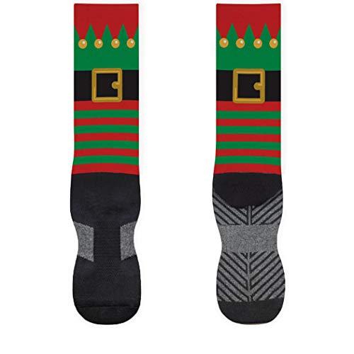 Holiday Printed Mid Calf Socks | Christmas Elf | Large | Red/Green