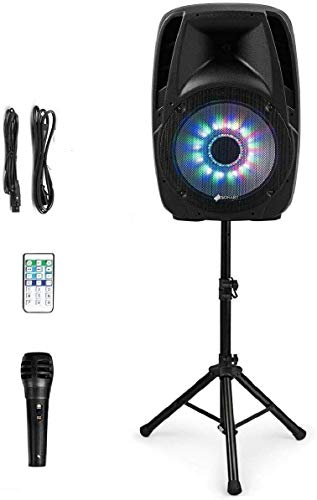 "GOFLAME Portable 15"" PA Speaker System Set, 1500W Powered 2-Way Bluetooth DJ Party Speaker with Stands, Illuminating Light, Microphone, USB/SD Card Reader"