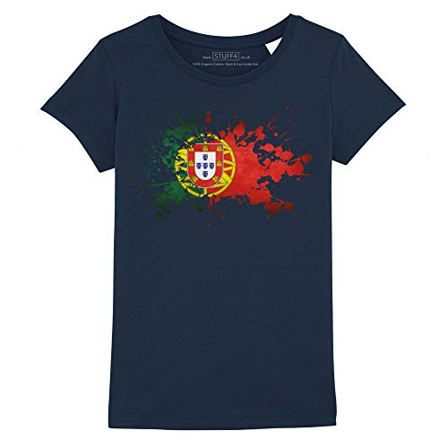 Stuff4 Meisjes T-Shirt/Portugal/Portugese Vlag Splat/Ronde hals Casual Korte mouw 100% Organisch Katoen