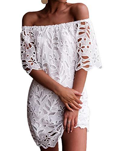 YOINS Donna Vestito Senza Spalle a Maniche Lunghe con Spalline Elegante Abito da Spiaggia Corto Abiti Motivo Estivo Floreale Sexy Lace XS/EU32-34