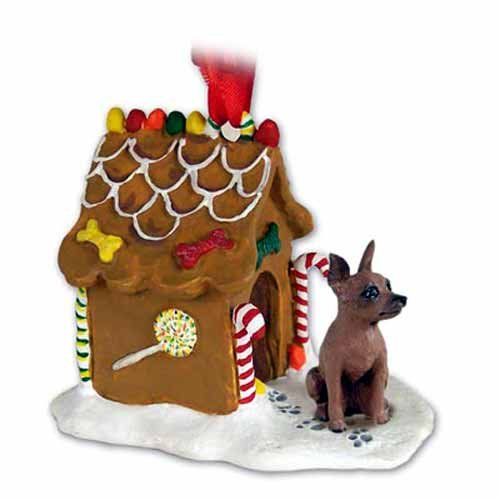 MINIATURE PINCHER Dog Mini Pin Red and Brown NEW Resin GINGERBREAD HOUSE Christmas Ornament 57B