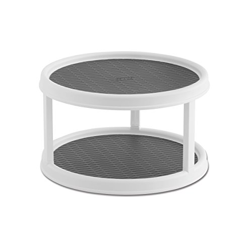 Copco 25550187 NonSkid 2Tier Pantry Cabinet Lazy Susan Turntable 12Inch White/Gray