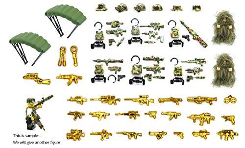 MAGMA BRICK (Freie 6 Figuren) Taktische Weste, Waffe, Kriegsausrüstung und Waffen im Wald Schlachtfeld Kompatibel mit Lego