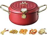 DSKJ Freidora de acero inoxidable 304 Tempura con termómetro y tapa, multifunción, apta para inducción, para pollos, patatas fritas, gambas de...