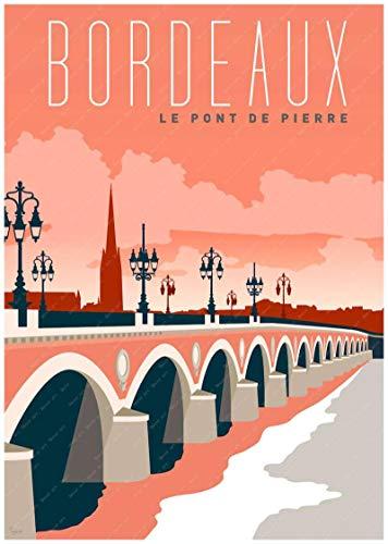 Burdeos, Francia, país del vino, mapa turístico, póster, revestimiento artístico, póster, lienzo, pintura al óleo, decoración, lienzo 40X60cm verde