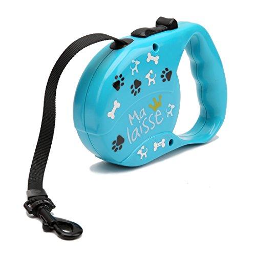 3 Meter Rollleine Pfotenabdruck Hundeleine bis Maximal 25kg Ausziehleine Trainingsleine Einziehbare Haustier für Kleine, Mittlere Hunde Schleppleine Führleine Aufrollbare Übungsleine (blau)