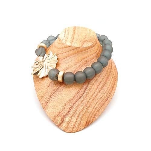 Collares De Bisutería para Mujeres - Estilo Gargantilla De Bolas o Perlas con Preciosa Flor - Calidad Española (Gris Azulado)