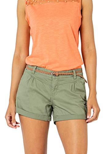 Sublevel Damen Kurze Hose Stretch-Shorts mit Flecht-Gürtel Middle-Green L