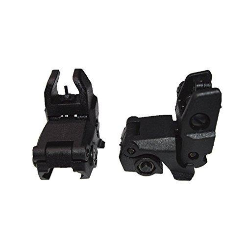 FIRECLUB Tactical Folding Front & Rear Set Flip Up Backup Sights BUIS Black