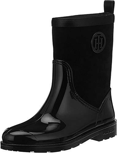 Tommy Hilfiger Damen Warmlined Suede RAIN Boot Gummistiefel, Schwarz (Black 990), 39 EU