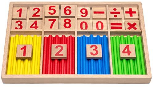 Natureich Montessori Juguete educativo de matemáticas de madera Juego de tablas de multiplicar para los números 1x1 Aprender a sumar Ayuda para hacer cálculos para niños y niñas Escuela