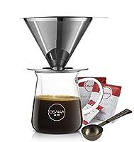Profitez du cadeau du café : coffret cadeau magnifiquement emballé, avec tout ce dont vous avez besoin pour rejoindre la dernière vague de café. L'ensemble comprend : tasse en borosilicate de 283,5 g, filtre en acier inoxydable, cuillère à mesurer à ...