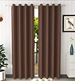 STAR DECOR Solid Blackout Plain Curtain -100% Opaque - 9 feet Long Door