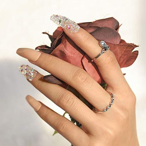Sethexy Funkeln Lange Ballerina Falscher Nagel Sarg Glänzend Bling Falsche Fingernägel 24St Acryl Kunst Drücken Sie auf Nagelspitzen für Frauen und Mädchen (Rosa)