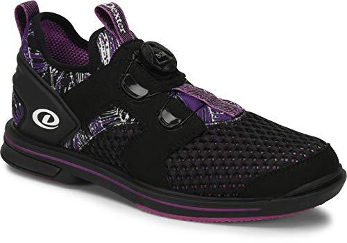 Dexter DexLite Pro BOA - Schwarz/Lila (nur für Rechtshänder) - Bowling-Schuhe Damen, mit Wechselsohle und BOA Verschlußsystem in den Schuhgrößen 36-41 und Mein-Bowlingshop Schuhtasche im Set Größe 36