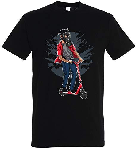T-Shirt Herren/Damen Schwarz mit Gasmasken Scooter Aufdruck (XL, Schwarz)