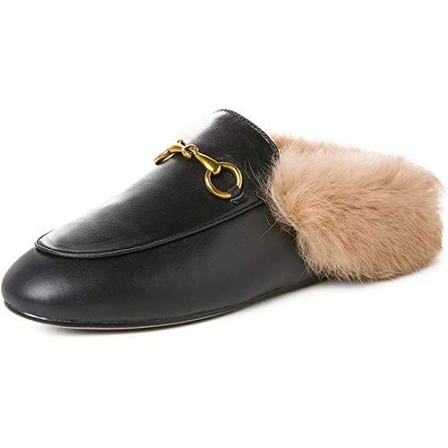 aznz Damen Flache Slingbacks Pantoletten mit Fell Leder Slipper Samt Mules Warm Loafers Schuhe (38 EU /240 Schwarz)