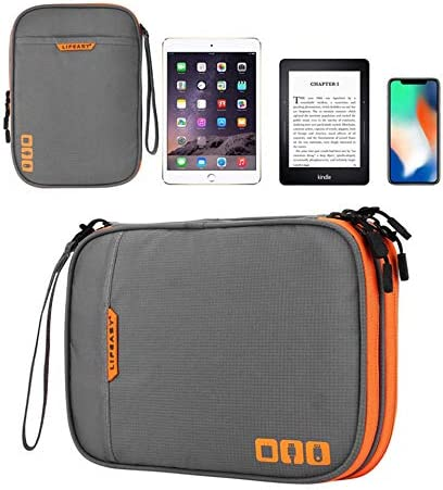 Acoki Portable Electronic Accessories Travel case,Cable Organizer Bag Gadget Carry Bag for iPad,Cables,Power,USB Flash Drive, Grey (M)