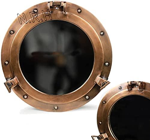 15 pulgadas aluminio Porthole Ventanas espejo vidrio antiguo cobre náutico barco puerto foto marco pared espejo decoración del hogar