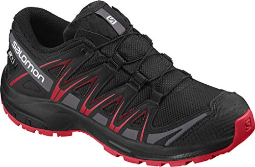 SALOMON Unisex-Kinder XA PRO 3D CSWP J Traillaufschuhe, Schwarz (Black/Black/High Risk Red), EU 36
