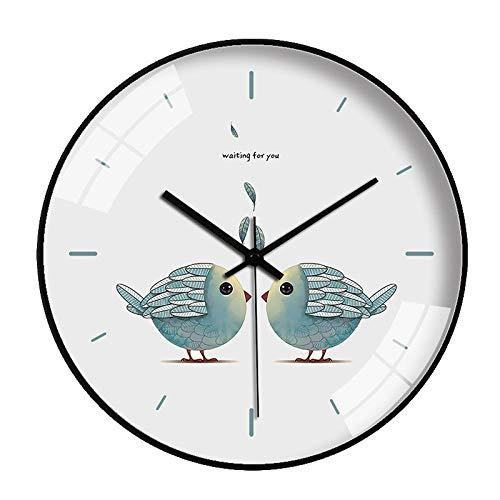 HPPSLT Reloj Redondo silencioso Simple Reloj de Cuarzo de Metal Reloj de Pared Reloj de Pared Claro Lindo de Dibujos Animados-7