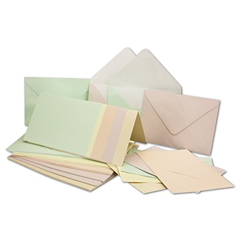Perlmutt-Karten inklusive Briefumschläge mit Geschenkschachtel 25er-Set Blanko Pastellfarben Einladungskarten 5 Verschiedene Farbtöne in DIN A6