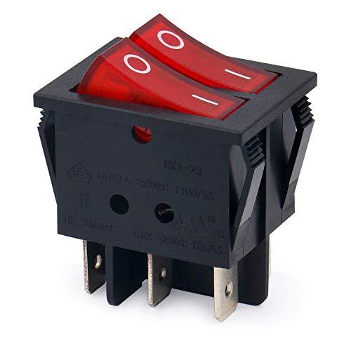 Movilideas Interruptor basculante Doble Cuadrado Rojo SPST 6 terminales Con Luz 16vA 250VAC UL VDE