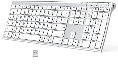 iClever Bluetooth +2.4G Tastiera Ricaricabile Multi-dispositivo, Ultra Fine Tastiera a Doppia Modalità Full-Size per Mac, iPad, Apple, Android, Windows, Connessione Fino a 3 Dispositivi
