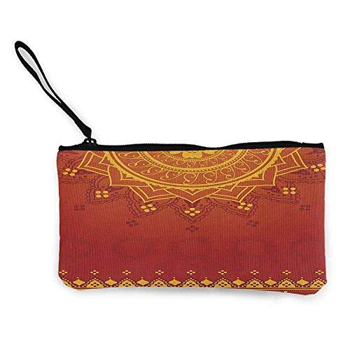 TTmom Carteras de Mujer,Monedero,Lotus Arabesque Background with Moroccan Traditional Featured Symbolic Boho Effect Wallet Coin Purses Clutch W 8.5' x L 4.5' Marigold Orange