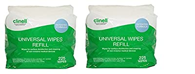 Clinell Universal Wipes - Bucket of 225 Refill (2) by Gama Healthcare