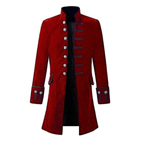 Cappotto Steampunk Vintage Uomo Camicia Manica Lunga Collo Alto Colletto Maniche Lunghe Pure Colour Sezione Media Bottoni Taglia: S-3Xl Colore: Nero/Blu/Rosso
