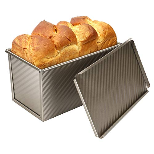 welltop Loaf Pan with Lid, Nonstick Corrugated Carbon Steel Square Bread Toast Mold with Cover, Loaf Pan for Home Kitchen Toast Baking, 8.43 x 4.72 x 4.33inch, Champagne Gold