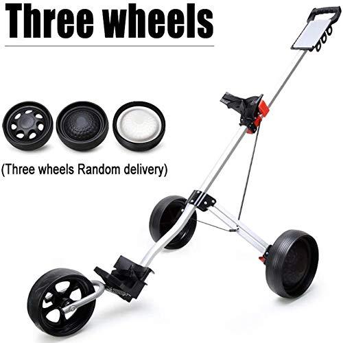 Golf-Trolley Wagen mit Bremse Golf Cart 3-Räder Push-Pull-Golf Cart, Aluminium-Legierung Faltbarer Trolley Golf-Zubehör