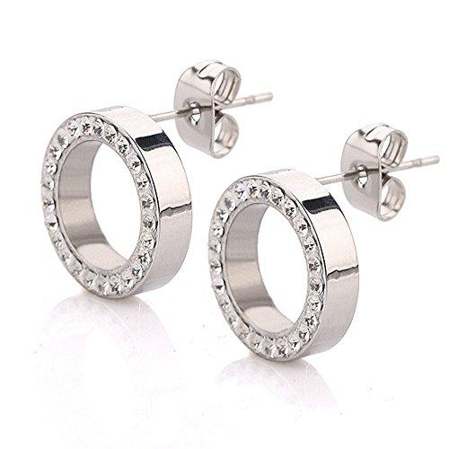 findout Dames Titanium Steel Classique Simple Cercle Cubique Zircone Boucles d'oreilles, pour Les Femmes Filles (f1777)