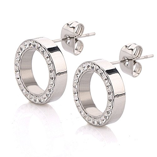 findout Ladies Titanium Steel Classic Simple Circle Cubic Zirconia Earrings, for Women Girls (f1777)