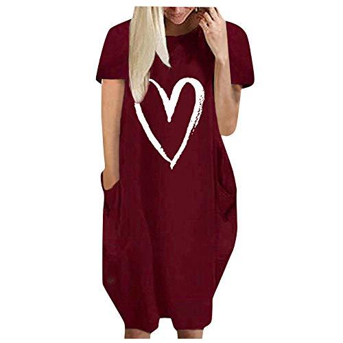 VEMOW Vestido para Mujer Manga Corta, Vestidos Casual Estampado Corazón Suelto Largos Verano Chic Elegante Color Sólido Vestido Falda Larga Maxi Vestido Playeros con Bolsillo(C Vino,L)