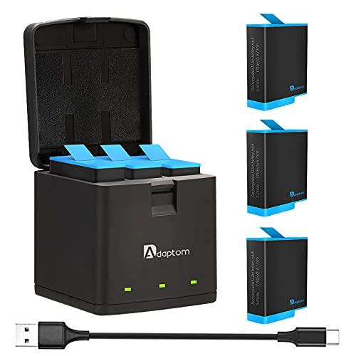 Adaptom Hero 9 Cargador de batería,3 Baterías+Cargador de Batería de 3 Canales...