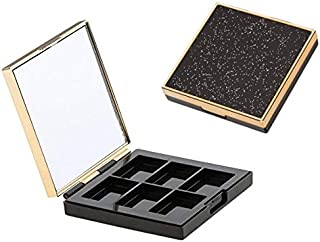 DNHCLL 6 Girds Empty Palette Box Eyeshadow Powder Blush Lipstick Makeup Case Highlighters Container Mirror Inside Homemade Eye Shadow Empty Boxes for Women Girls To Use Makeup