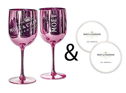 Moët & Chandon Ice Impérial Champagner & Prosecco Acryl Gläser Becher mit einem Set Papieruntersetzer rose