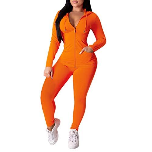 Find Bargain Missli Women's 2 PCS Tracksuit Sets Solid Color Sweatsuits Outfits Hoodie Sweatshirt an...