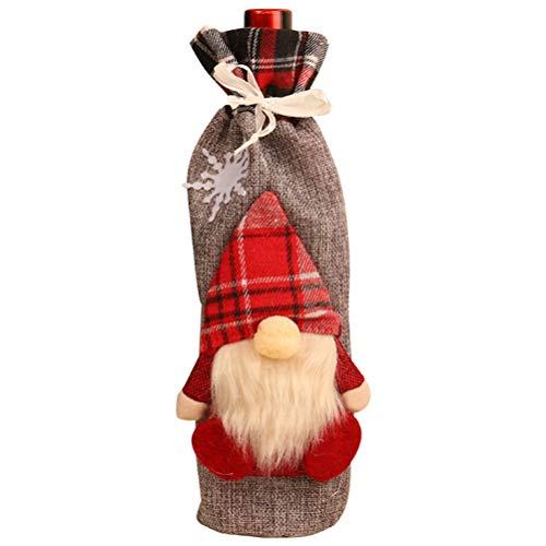 Bolsa de regalo de botella de vino de Navidad sin rostro muñeca...