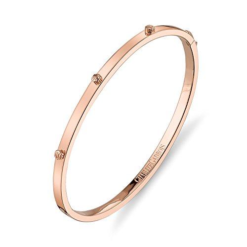 CHARLIZE GADBOIS 925 Sterling Silver Thin Hexagon Strie Bangle Bracelet, 18K Rose Gold Plated