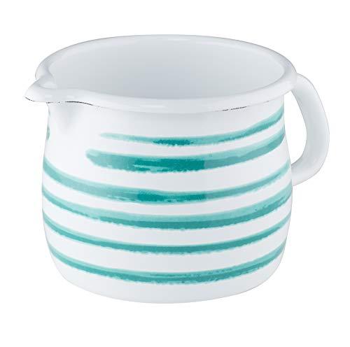 Riess, 0094-048 Spout Pan Country Special Decoration Green Flamed 12 cm 1 Litre Capacity White Enamel Milk Pan Sauce Pot