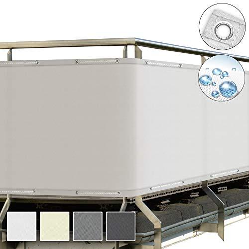 Sol Royal SolVision Balkon Sichtschutz Weiß PB2 PES blickdichte Balkonumspannung 90x300 cm – Balkonbespannung mit Ösen und Kordel - in div. Größen & Farben