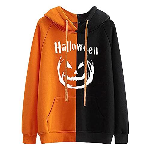 Wave166 Camiseta con diseño de alfabeto de Halloween para mujer, con capucha, colores de patchwork, dos colores, manga larga, cuello redondo, con bolsillos y cordón