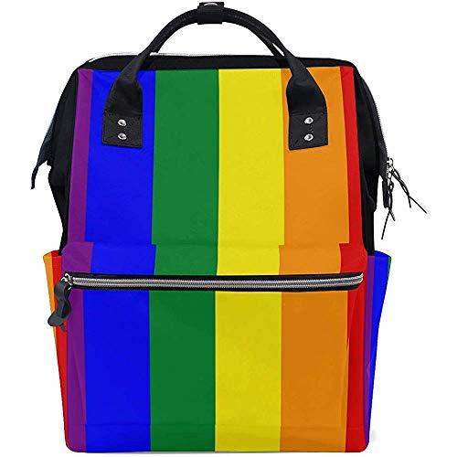 Mochila Rainbow Gay Pride Pañal Mochila Unisex Multifunción Gran Capacidad Papá 28X18X40Cm Bolsas De Bebé Cremallera Mochilas Casual Viaje Mamá